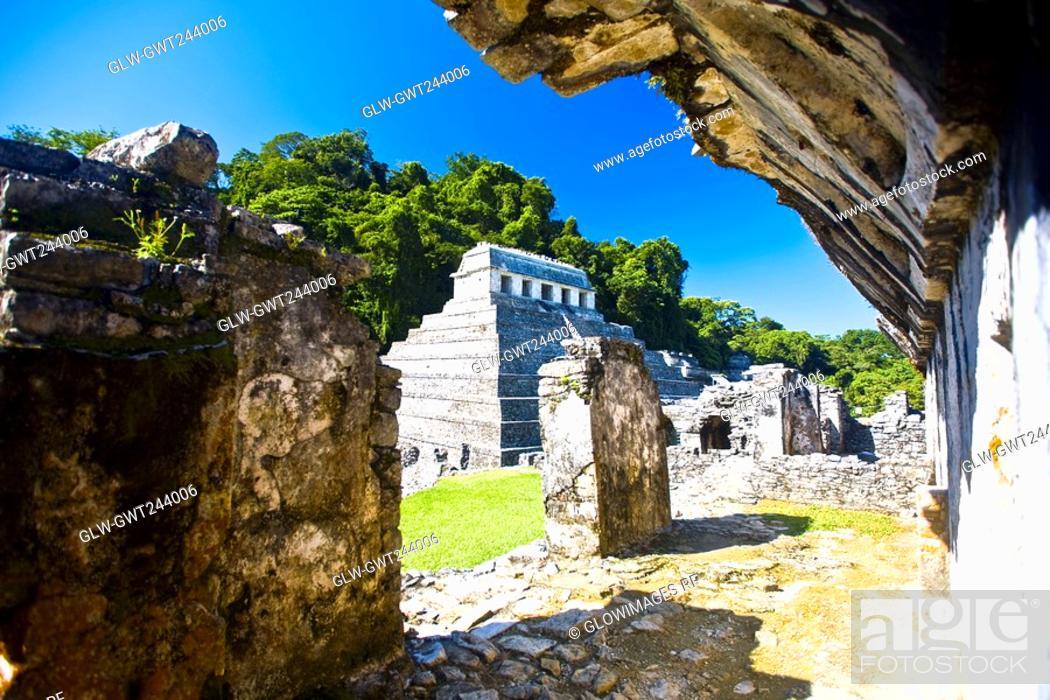 Stock Photo: Old ruins of a temple, Templo De los Inscripciones, Palenque, Chiapas, Mexico.