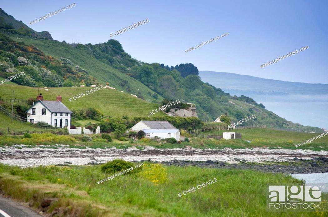 Stock Photo: Seaside drive, Coast Road, County Antrim, Northern Ireland.