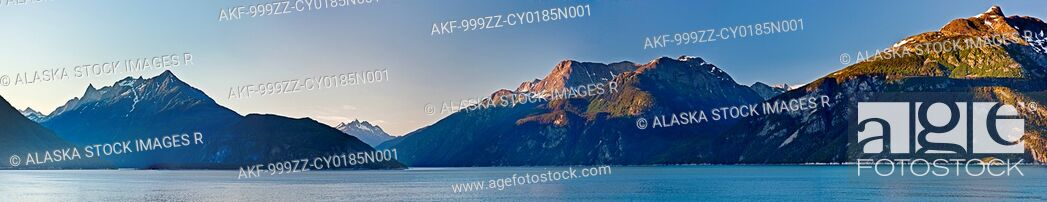 Stock Photo: Panoramic view across Lutak Inlet towards the Coastal Mountain Range and Mount Villard in the background, Haines, Southeast, Alaska, Summer.
