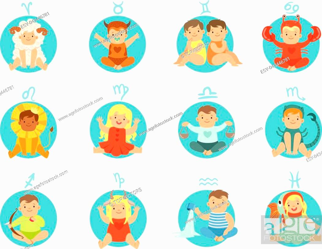 Babies In Twelve Zodiac Signs Costumes Sitting And Smiling