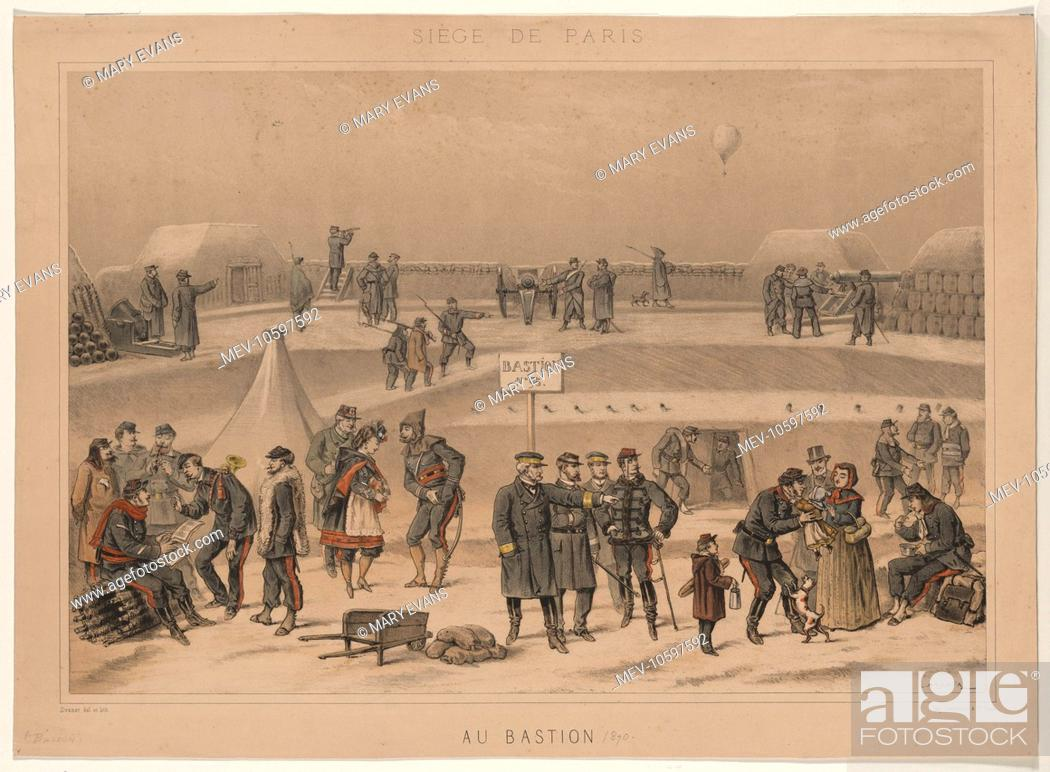 Stock Photo: Siege de Paris. Au Bastion. Print shows military life at French fort, Bastion no. 95, during the Siege of Paris, 1870. A balloon flies over the fort in the.
