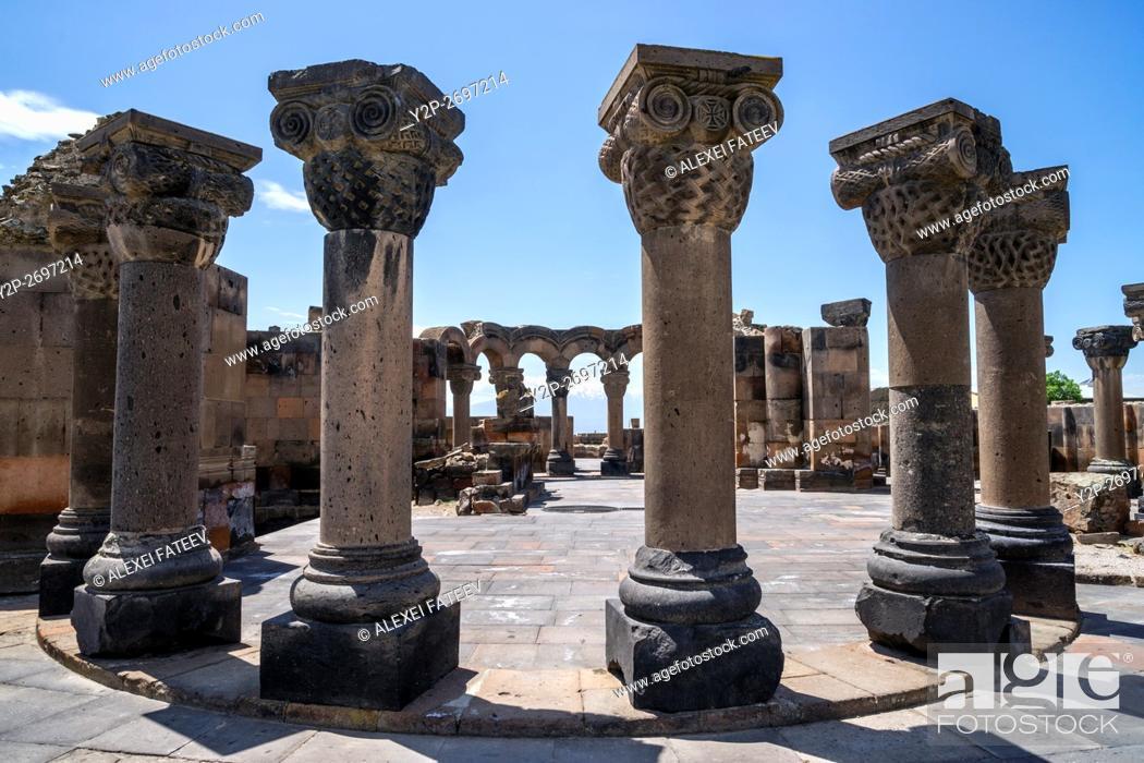 Stock Photo: Ruins of Zvartnots cathedral (7th century) in Armenia.