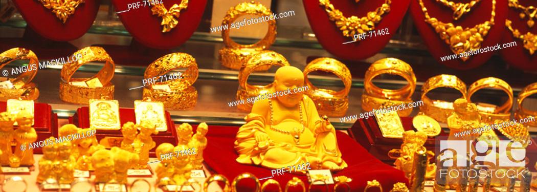 Stock Photo: Goldsmith Shop Window Hong Kong.