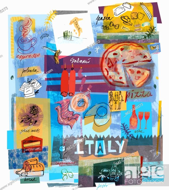Stock Photo: Collage of Italian food.