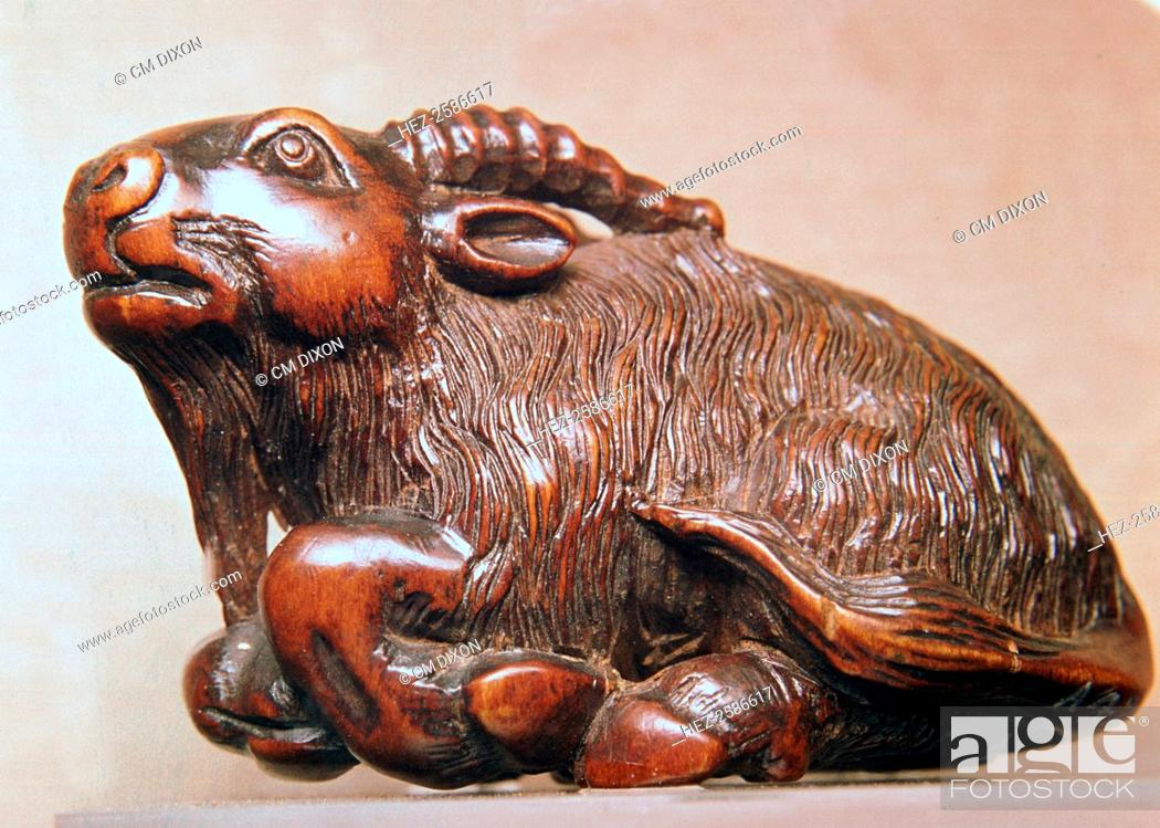 Japanese Netsuke of a goat, one of the twelve animals of the
