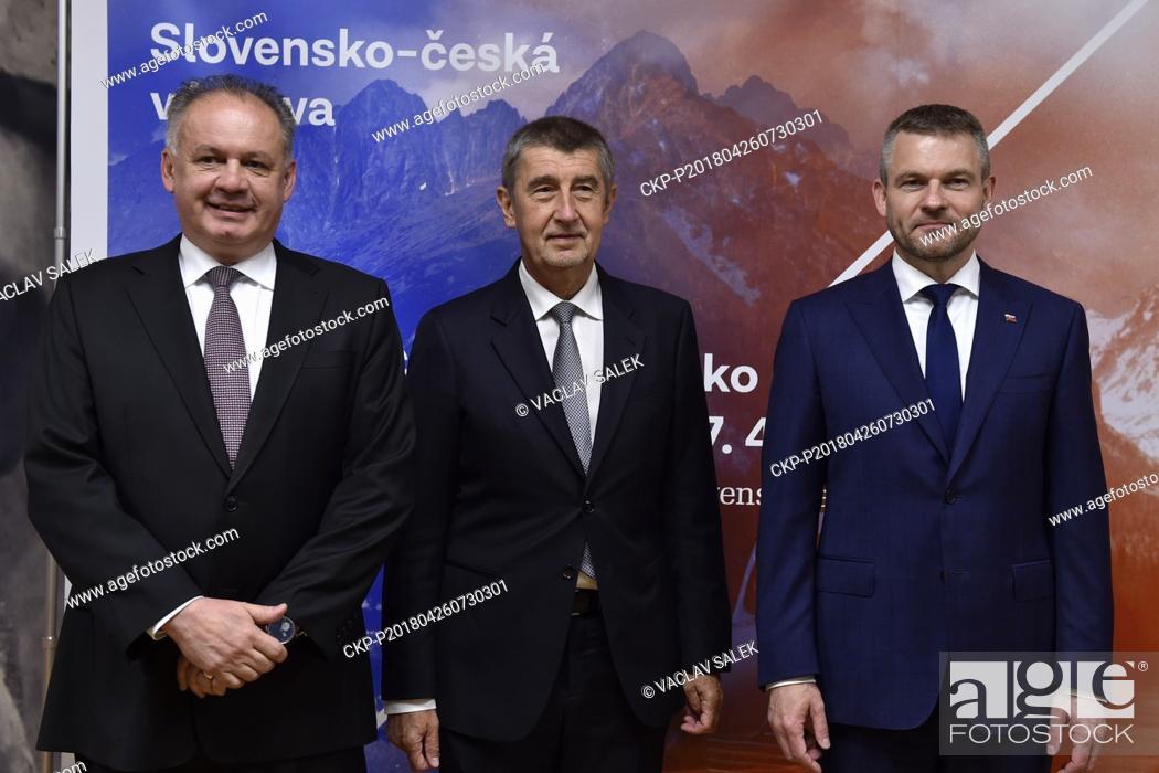 Stock Photo: Slovak President Andrej Kiska (left) and Slovak and Czech PMs, Peter Pellegrini (right) and Andrej Babis (center), attend opening of Czech-Slovak exhibition on.