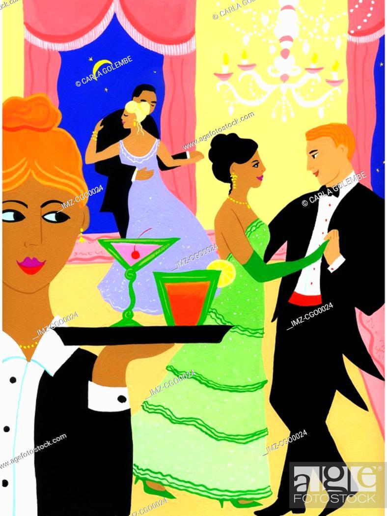 Stock Photo: Couples ballroom dancing at a gala event.
