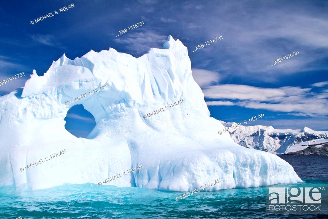 Stock Photo: Iceberg detail in and around the Antarctic Peninsula during the summer months, Southern Ocean  MORE INFO An increasing number of icebergs is being created as.