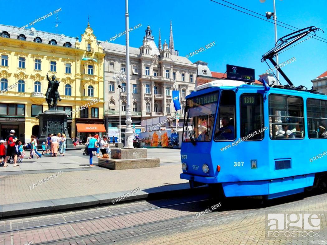 Stock Photo: Tram at Ban Jelacic Square, Zagreb, Croatia.
