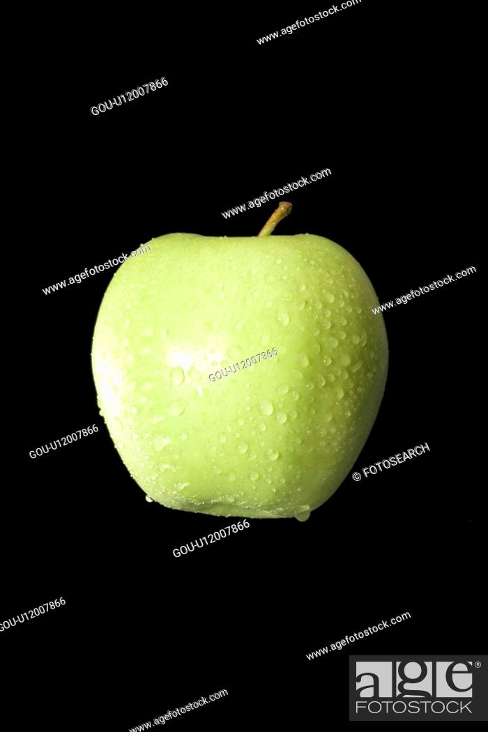 Stock Photo: Water droplets on green apple.