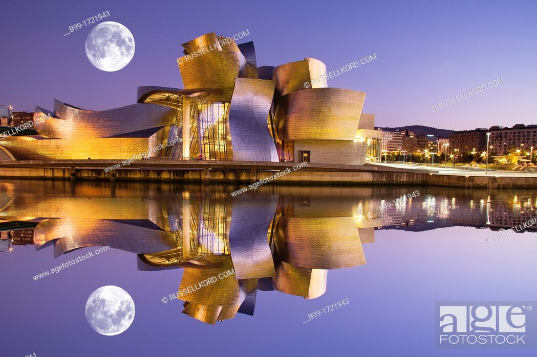 Stock Photo: Guggenheim Museum Of Modern Art Nervion River Bilbao Basque Country Spain.