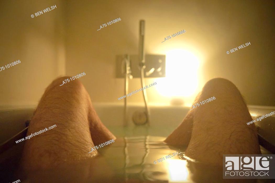 Stock Photo: Man in bathtub.