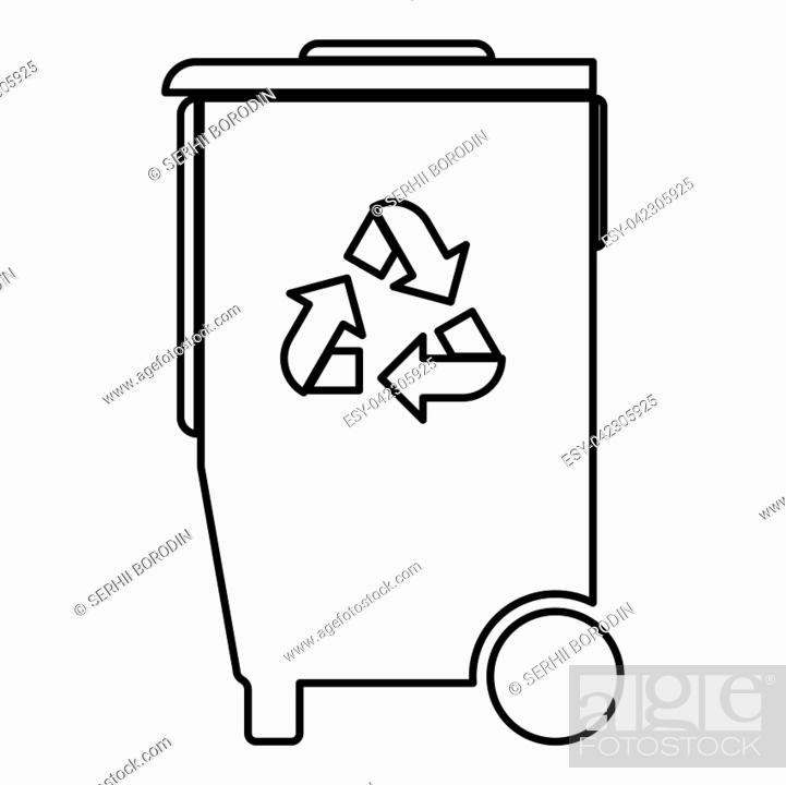 Stock Vector: Refuse bin with arrows utilization the black color icon vector illustration.