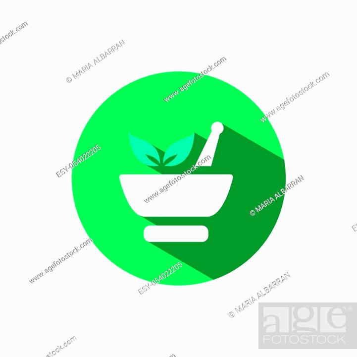 Stock Vector: Mortar icon and leaves with shadow on a green circle. Flat color vector pharmacy illustration.