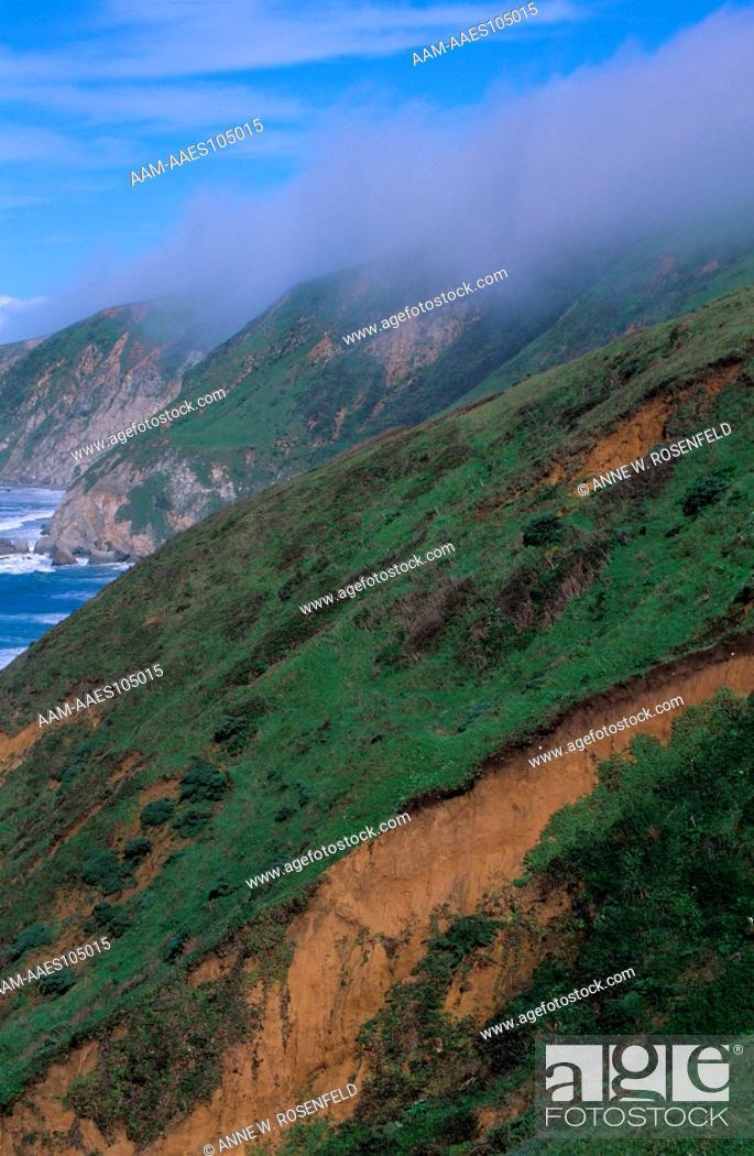 Stock Photo: California Coast & Fog, Pt. Reyes.