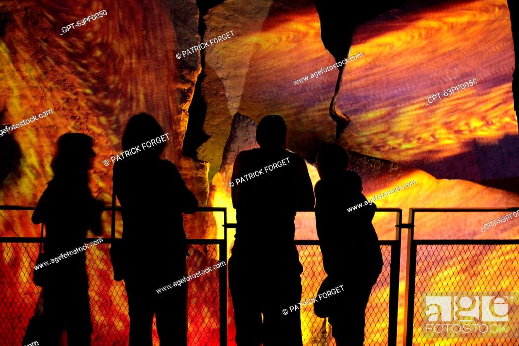 Stock Photo: PRESENTATIONS IN THE GRUMBLINGS OF THE EARTH GALLERY, VULCANIA THEME PARK, SAINT-OURS-LES ROCHES, PUY-DE-DOME 63, FRANCE.