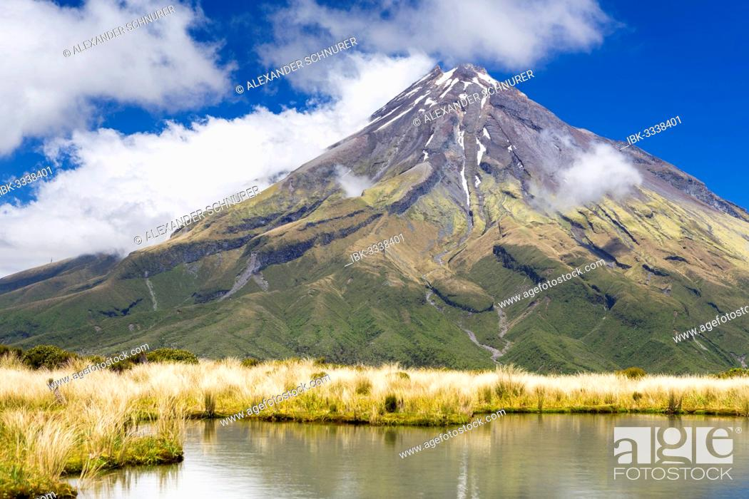 Stock Photo: Mountain lake with the Mount Taranaki volcano, Pouakai Range, Egmont National Park, Taranaki Region, New Zealand.