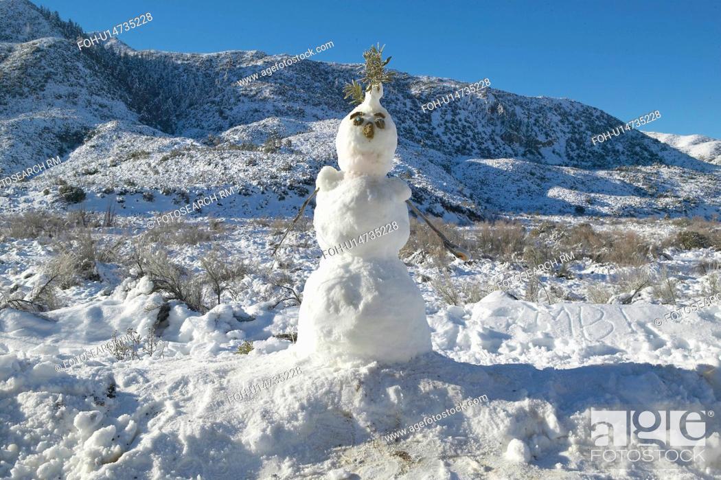 Stock Photo: Snowman in fresh snowfall along Highway 33 north of Ojai, California.