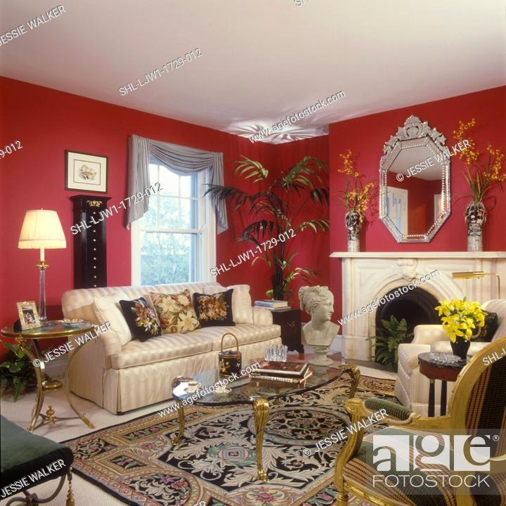 Living Rooms Classic And Traditional Look Dark Red Walls