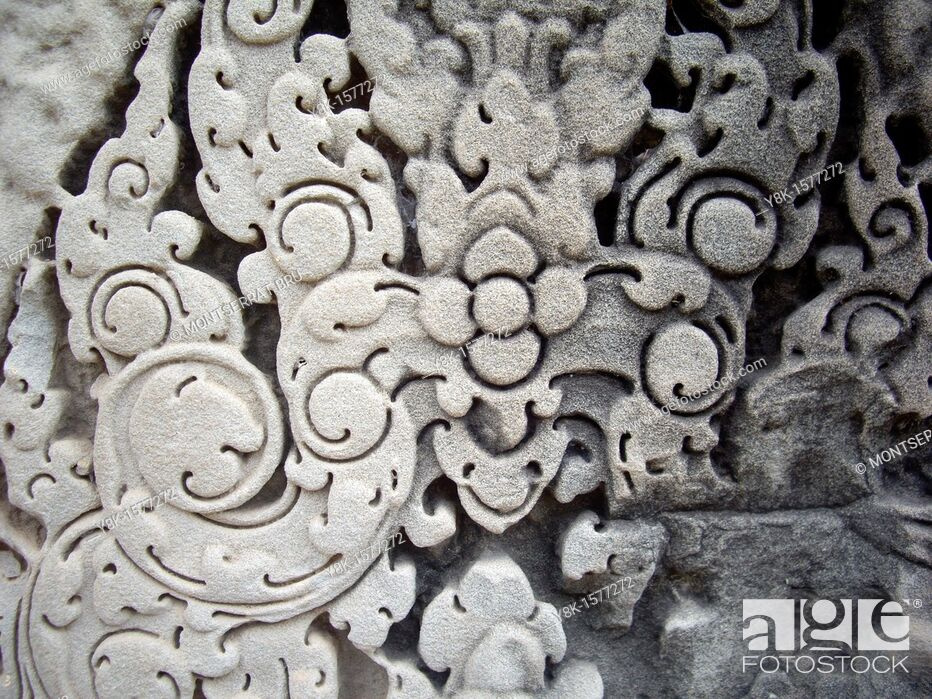 Stock Photo: Angkor Wat stone carving.