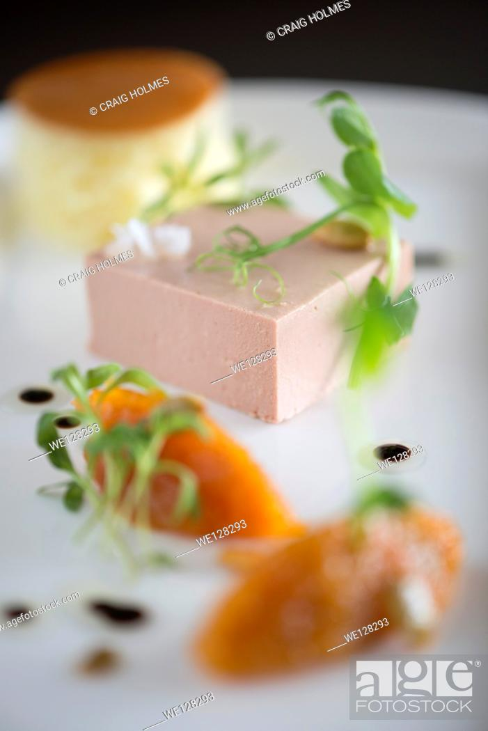 Stock Photo: Pate, brioche and marmalade ood from a fine dining restaurant.