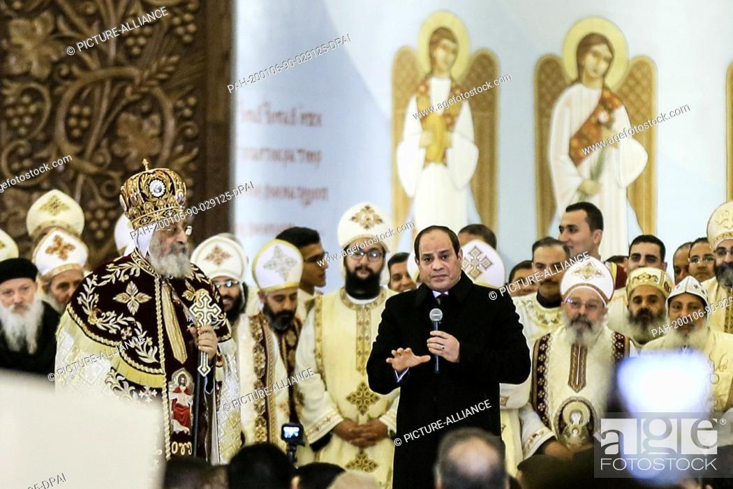 Stock Photo: 06 January 2020, Egypt, Cairo: Egyptian President Abdel Fattah el-Sisi..(R) delivers a speech, next to Pope Tawadros II of Alexandria and Patriarch of the See.
