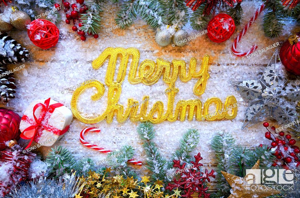 Stock Photo: Merry Christmas spell word on white snow background.