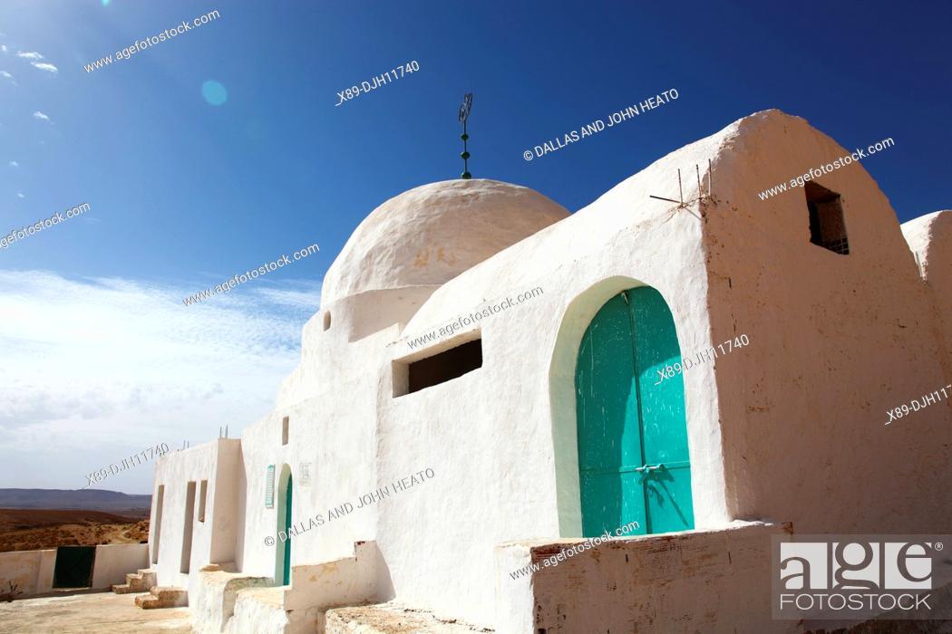 Stock Photo: Africa, Tunisia, Tataouine, Sahara Desert, Douiret Village, Sidi Messoud Mausoleum.