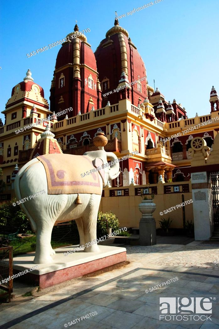 Stock Photo: Elephant statue outside a temple, Lakshmi Narayan Temple, New Delhi, India.