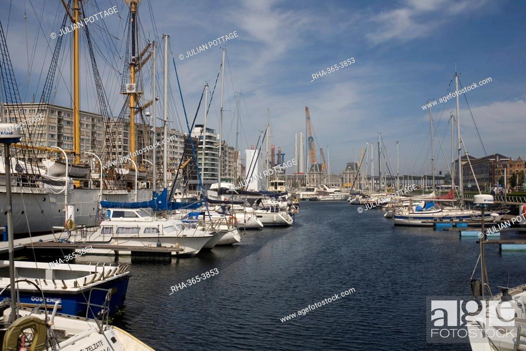 Stock Photo: Mercator Marina with many moored boats, Ostend, Belgium, Europe.