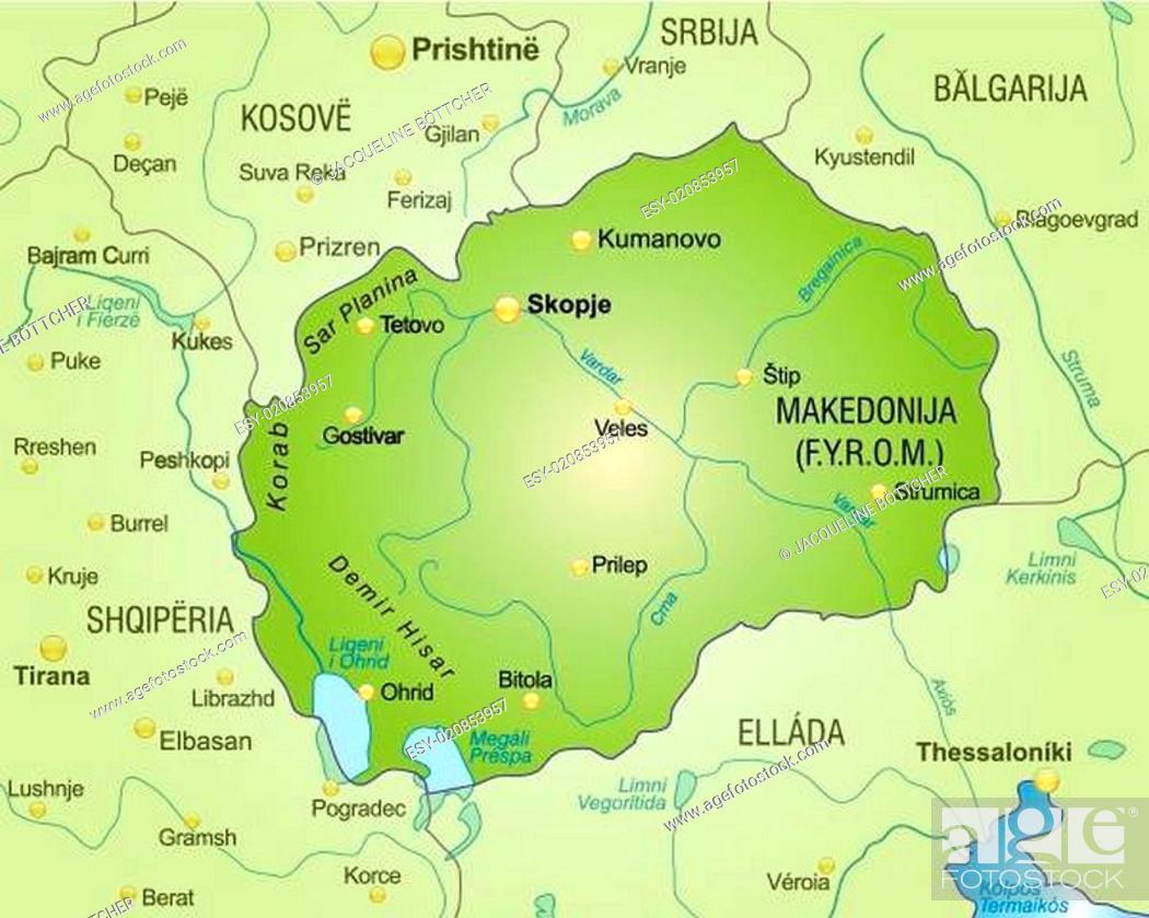 Mazedonien Karte.Karte Von Mazedonien Als übersichtskarte In Grün Stock Vector