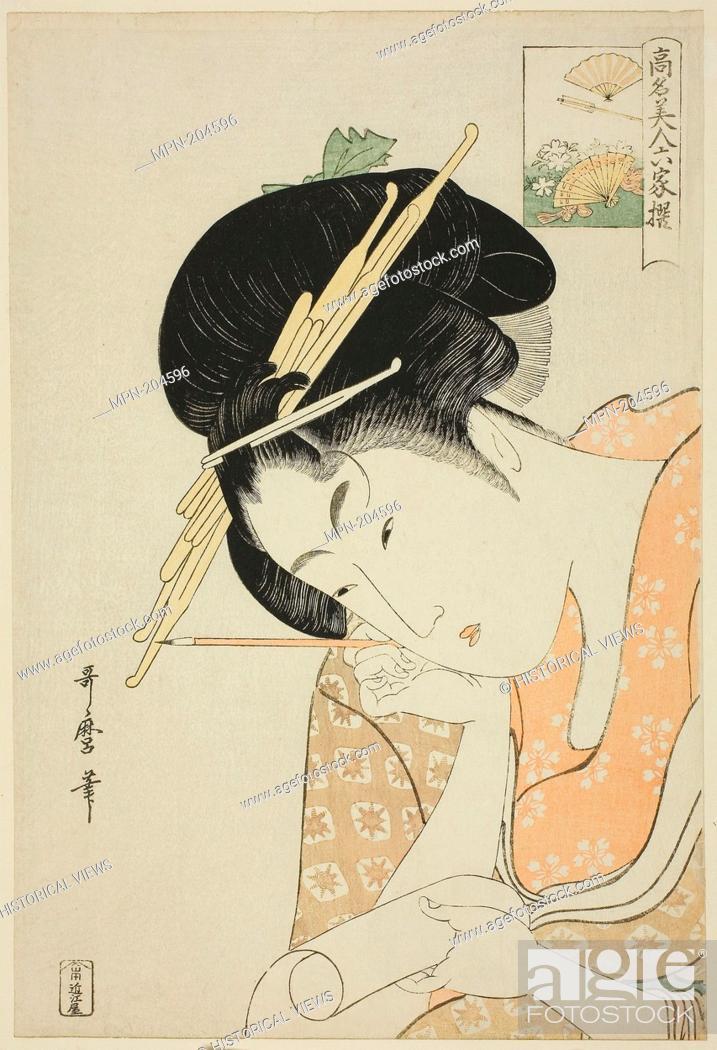 "Stock Photo: Hanaogi of the Ogiya, from the series """"Renowned Beauties Likened to the Six Immortal Poets (Komei bijin rokkasen)"""" - c."