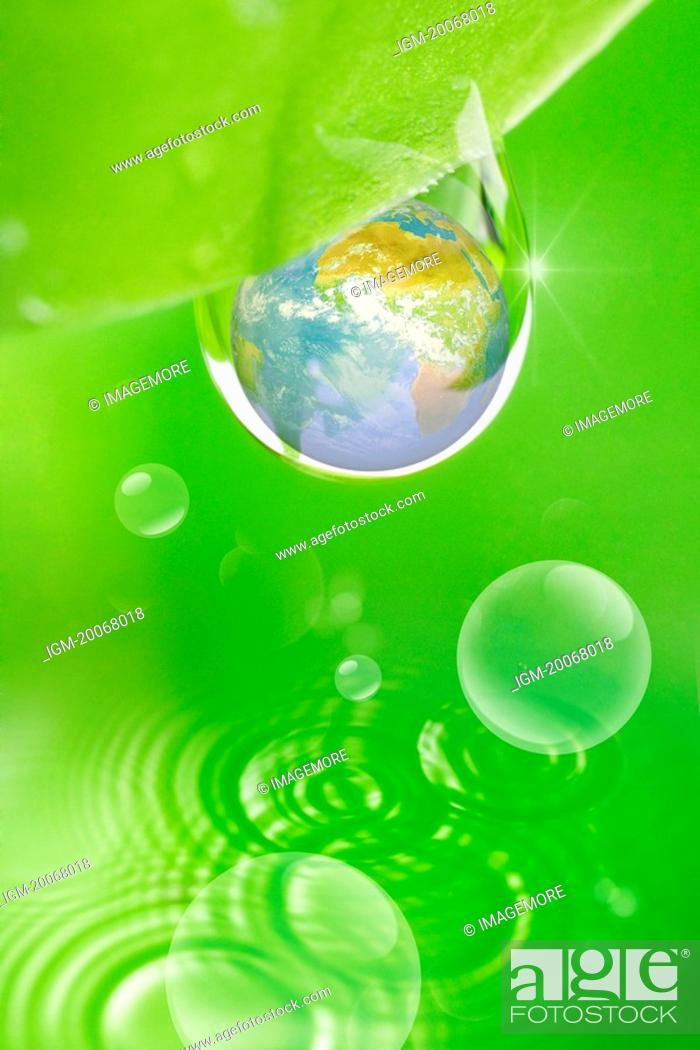 Stock Photo: Lohas, Environmental Conservation, Digitally generated image of drops and rippled.