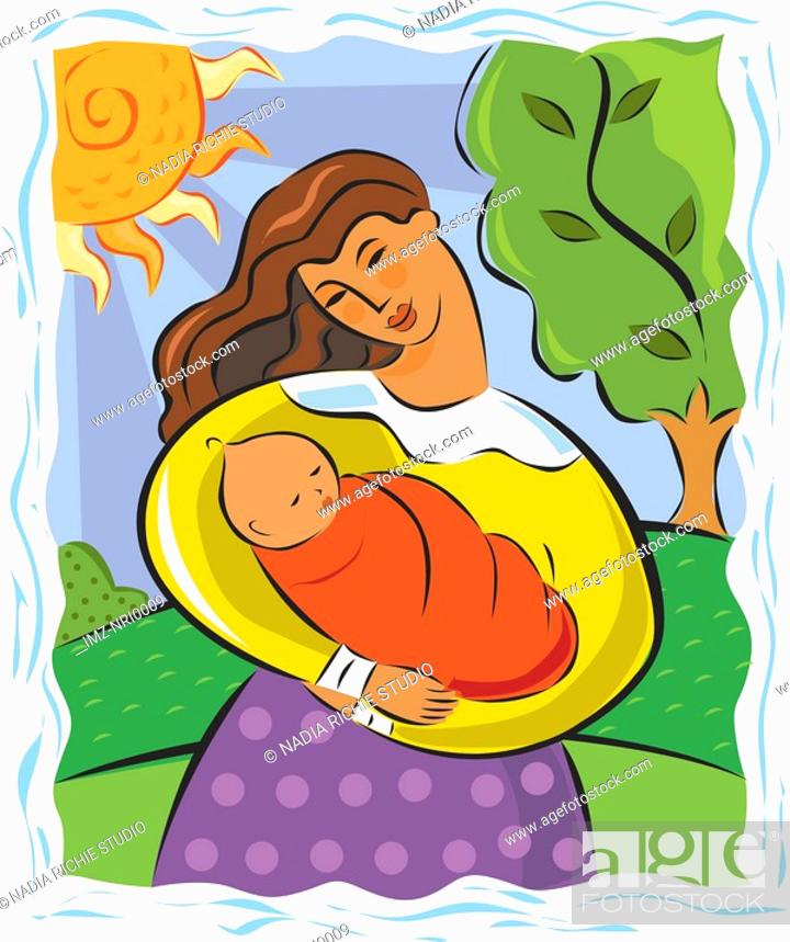 Stock Photo: Mother holding her baby.