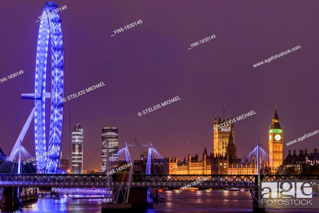 Stock Photo: View of Houses of Parliament and the London Eye from Waterloo Bridge, London, England, Europe.