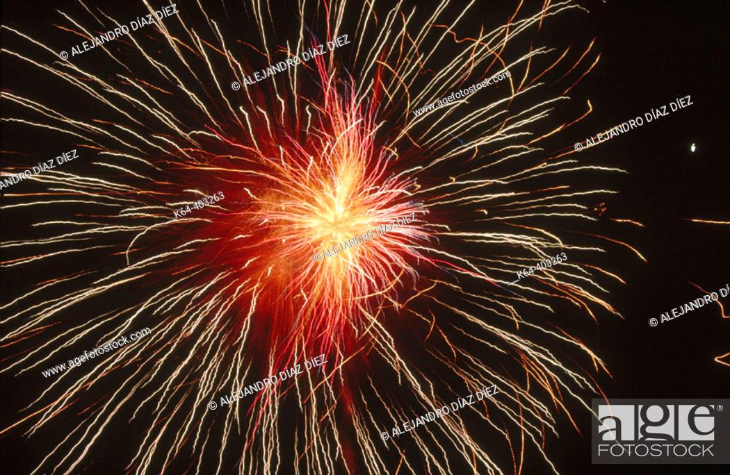 Stock Photo: Fireworks. Potes, Cantabria, Spain.