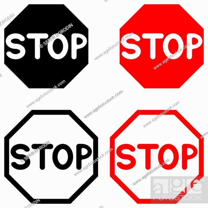 Vector: Symbol stop black and red color set.