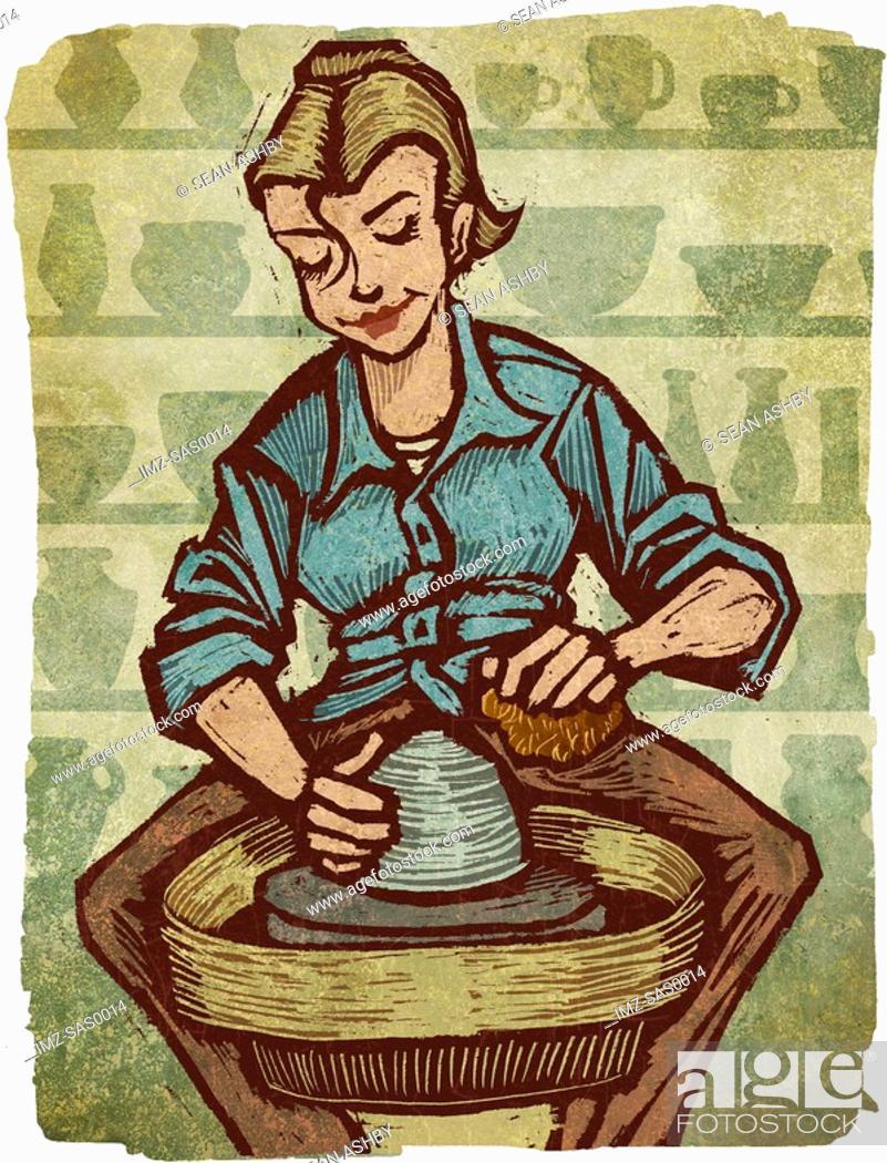 Stock Photo: A woman using a pottery wheel.