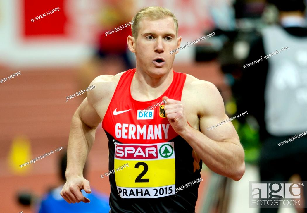 Stock Photo: Arthur Abele of Germany in action during the men's Heptathlon 1000m competition at the IAAF European Athletics Indoor Championships 2015 at the O2-Arena in.