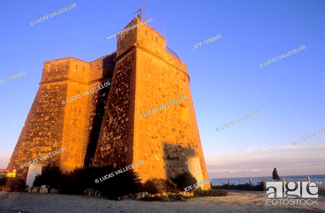 Stock Photo: Watchtower, Villaricos, Cuevas de Almanzora, Almeria province, Andalucia, Spain.