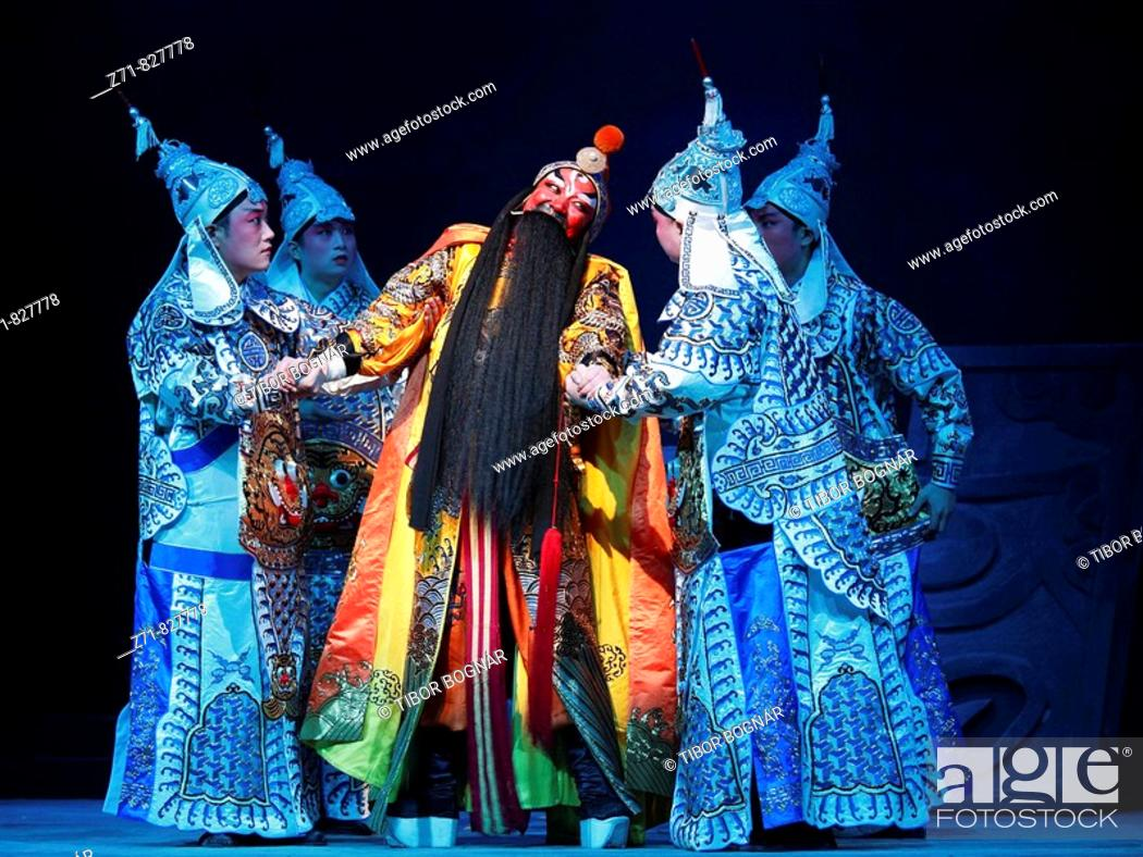 Stock Photo: China, Shanghai, Yifu Theatre, chinese kunqu opera performance.