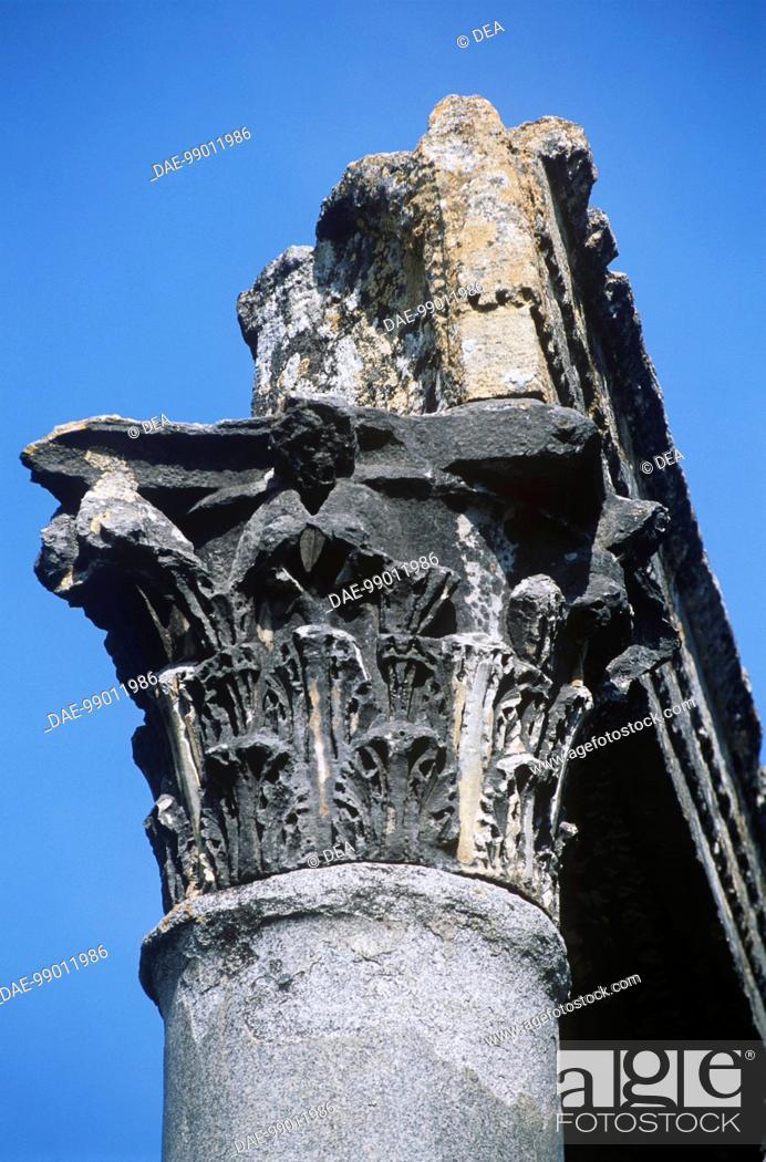 Stock Photo: France - Provence-Alpes-Cote-d'Azur - Riez - Ruins of Roman temple, 1st century A.D. Detail of Corinthian capital.