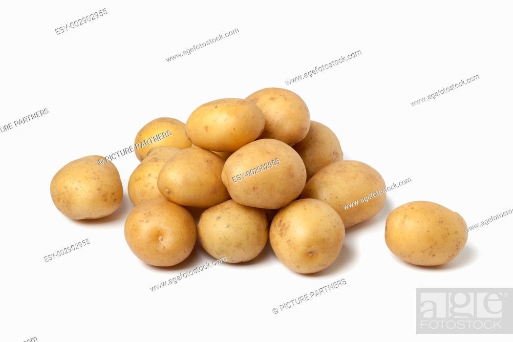 Stock Photo: Small new potatoes on white background.