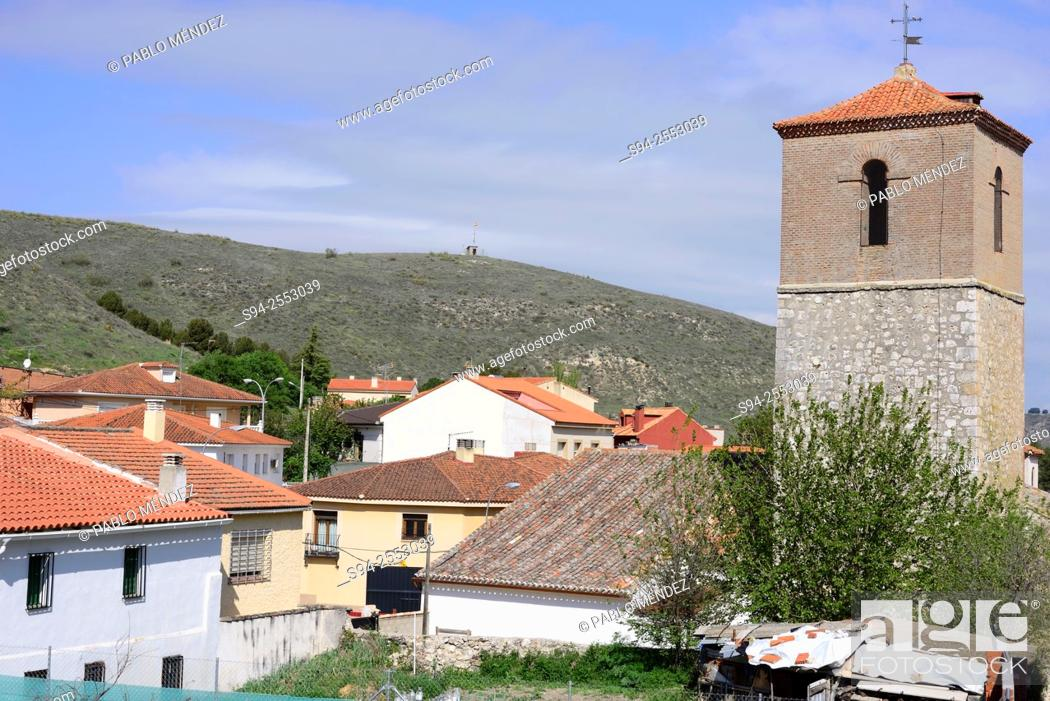Stock Photo: View of the church of Santa Maria Magdalena in Anchuelo, Madrid, Spain.