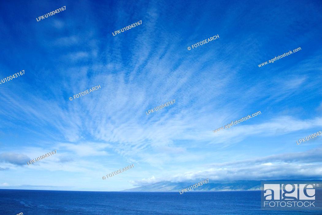 Stock Photo: Pacific Ocean and blue sky off Honolulu, Hawaii.