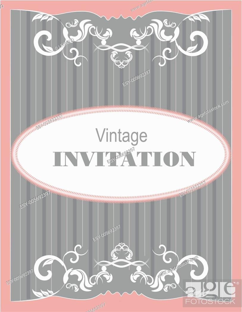 Stock Vector: Invitation vintage card. Wedding or Valentine`s Day. Vector illu.