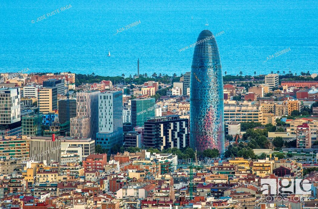 Stock Photo: Spain, Catalonia, Barcelona City , sunset Agbar Tower.