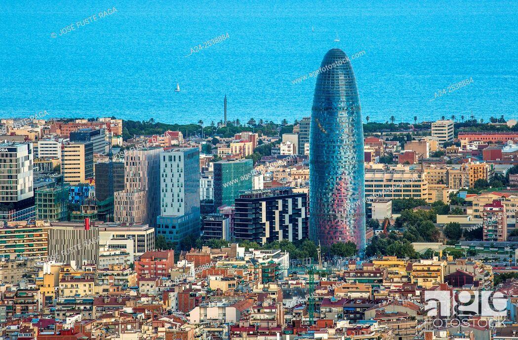 Stock Photo: Spain, Catalonia, Barcelona City , sunset Agbar Tower.