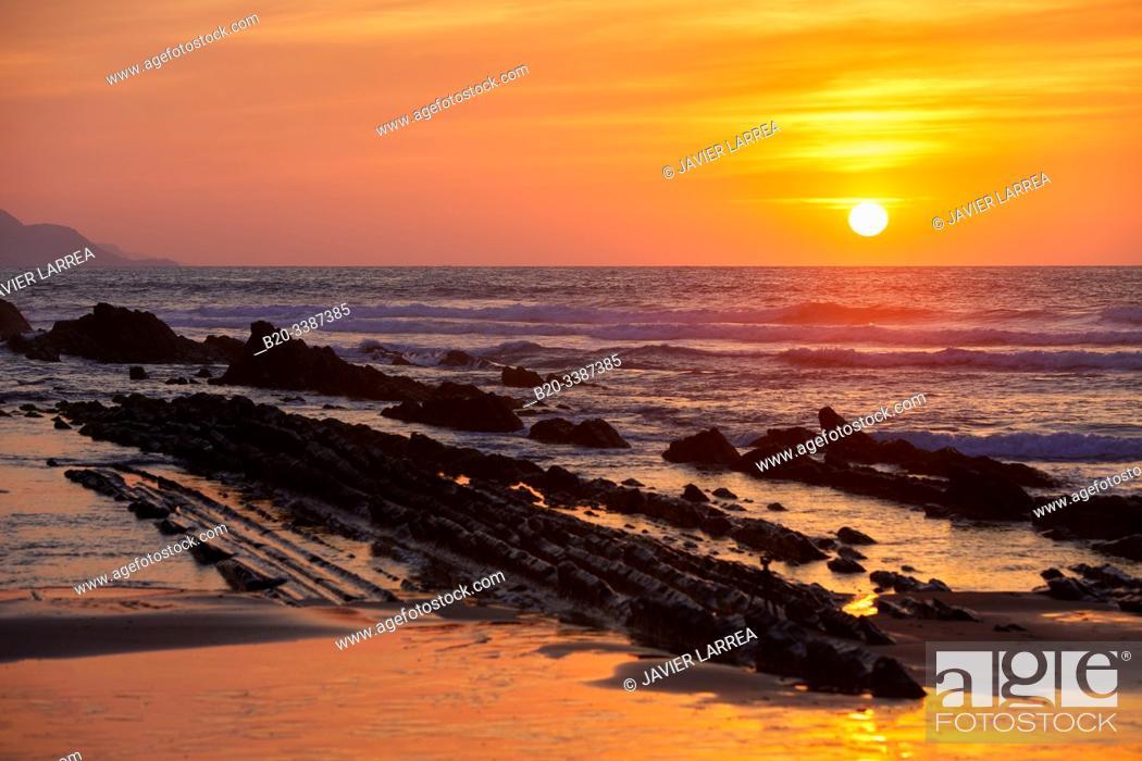 Stock Photo: Flysch, Itzurun Beach, Zumaia, Gipuzkoa, Basque Country, Spain, Europe.