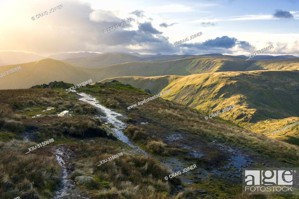 Stock Photo: The Cumbrian mountains including Lingmell End and Mardale Ill Bell from Harter Fell in the Lake District National Park, Cumbria, England.